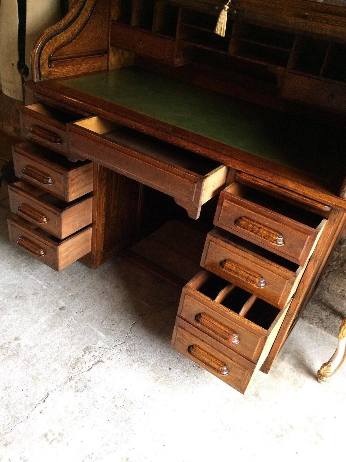 Antique Roll Top Desk Golden Oak Tambour Front Edwardian