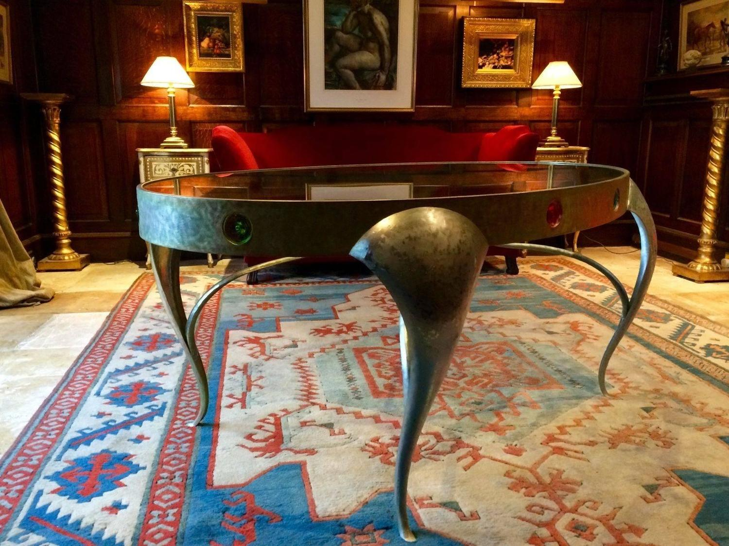 Bespoke console table centre table circa 1960s steel and glass unique for sale at 1stdibs Bespoke glass furniture
