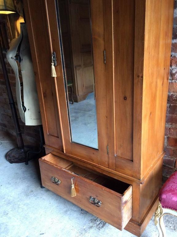 Antique Wardrobe Dresser Satin Walnut Edwardian Mirror Fronted 1900 In Good Condition For