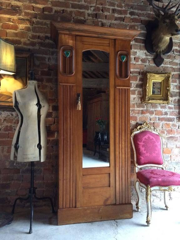 Antique Arts And Crafts Single Wardrobe Walnut Armoire
