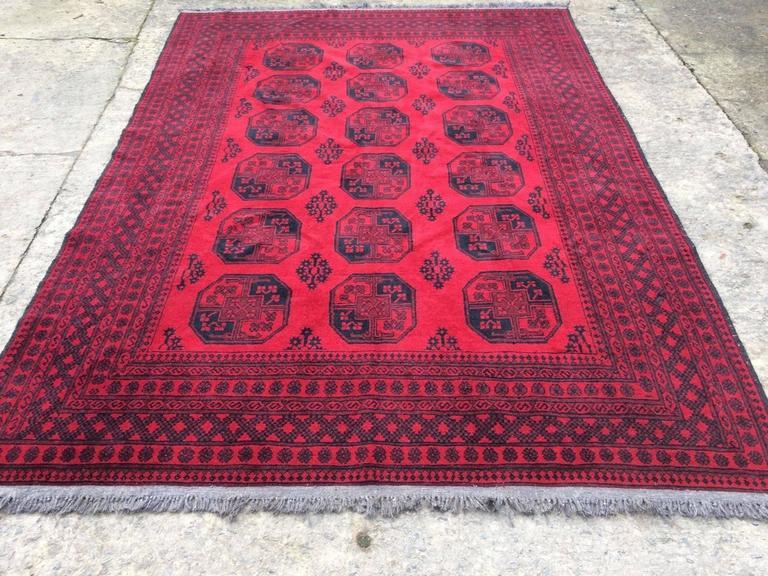 Antique Bokhara Rug Carpet Red 100 Wool Large Handwoven