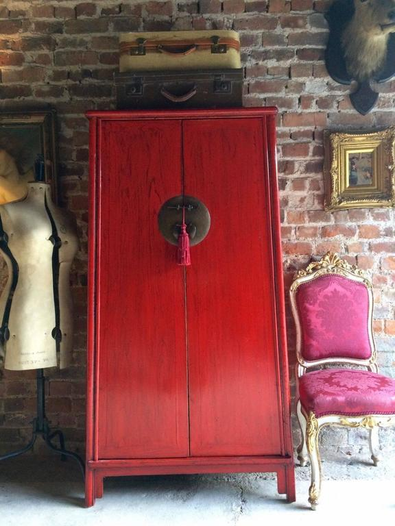 Antique Style Chinese Wardrobe Armoire Red Lacquered