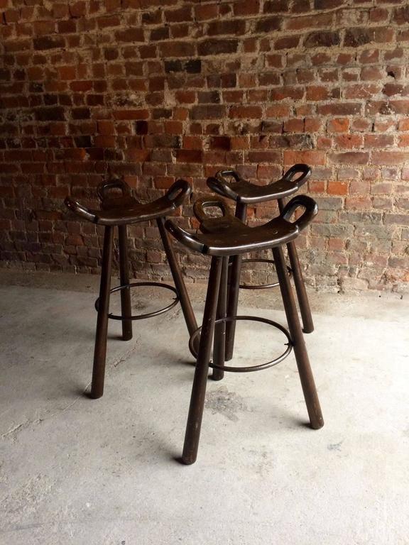 Industrial Bar Stools Three Saddle Oak Vintage Midcentury