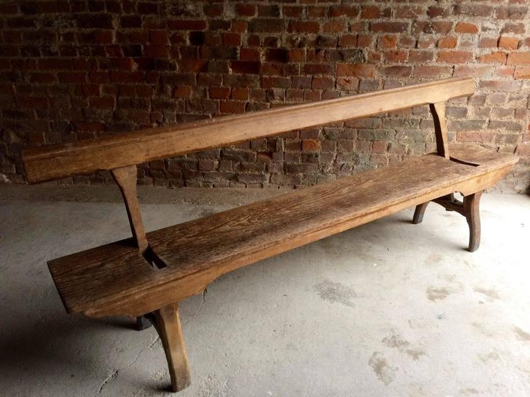 Antique Bench Pew Pitch Pine Victorian 19th Century Rustic Swivel ...