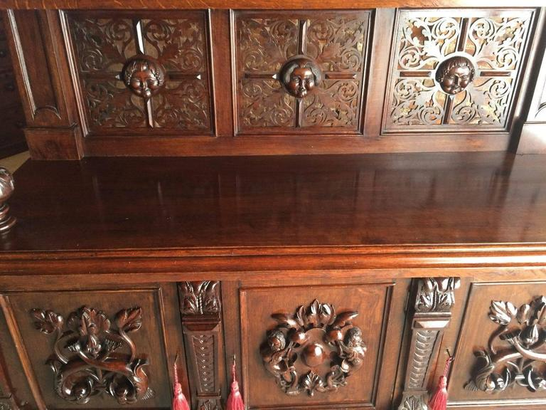 Antique Sideboard Buffet Gothic Oak 19th Century Victorian