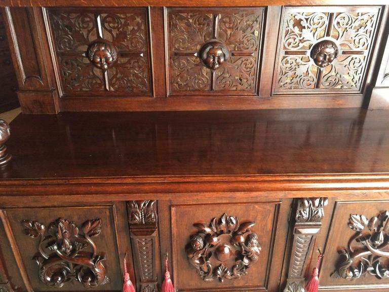 Antique Sideboard Buffet Gothic Oak 19th Century Victorian