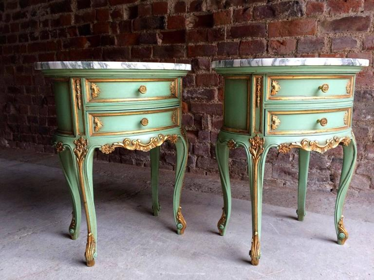 Gilt French Bedside Table Cabinets Nightstands Marble Painted Gilded Green Rococo For