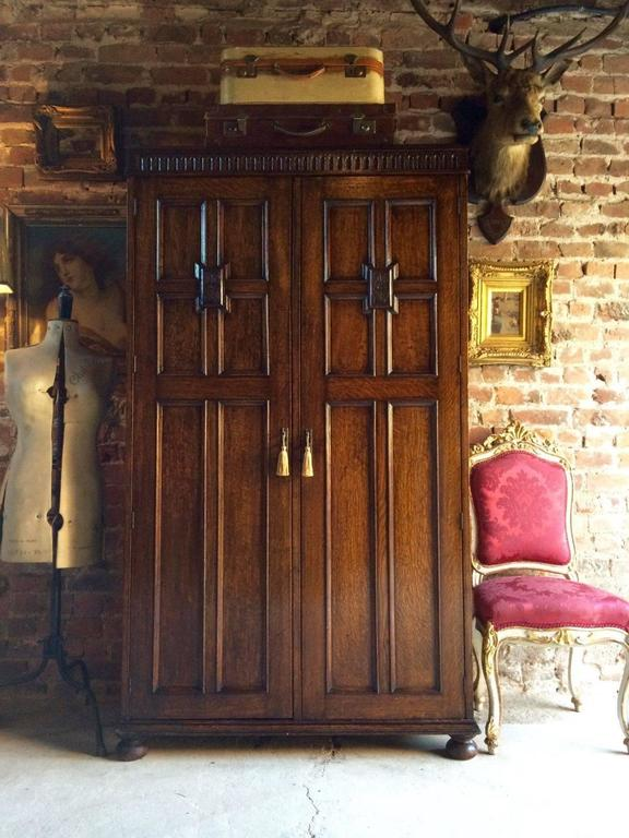 Antique Wardrobe Compactum Armoire Solid Oak Gothic Carved