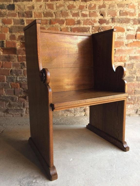 Church Pew Priests Bench Settle Solid Oak Antique Gothic Pugin Style At 1stdibs