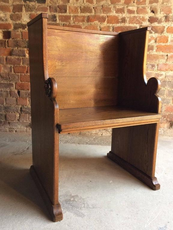 condition seating excellent priests settle bench benches l sale f pugin style id church s oak furniture in pew antique for gothic solid