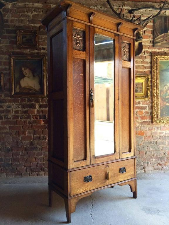 Antique Single Wardrobe Arts And Crafts Copper Edwardian