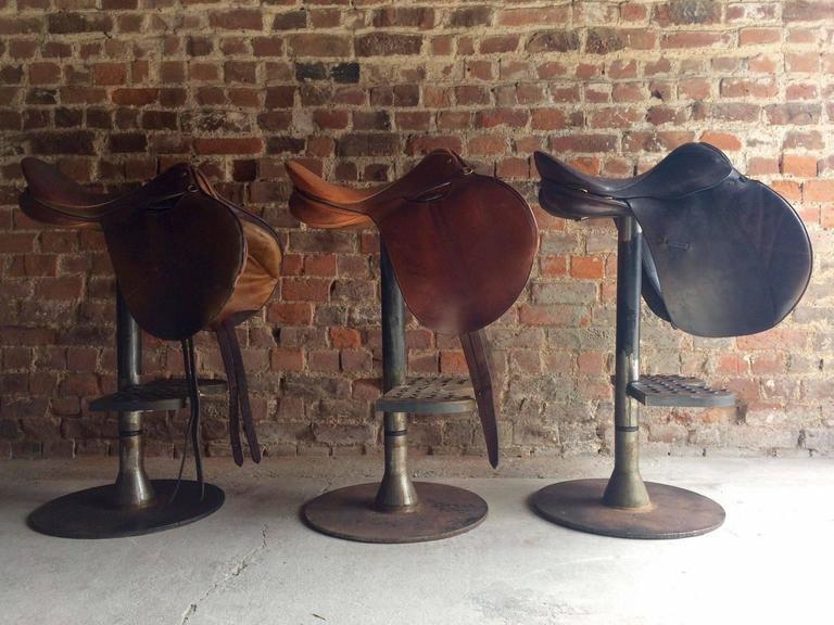 Industrial Bar Stools Leather Horse Saddle Three Steel