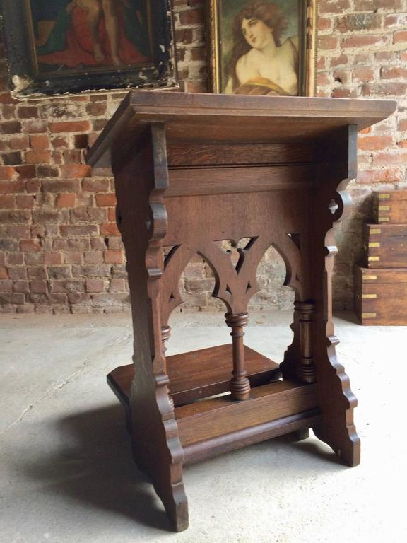 Antique Solid Oak Bible Stand Lectern Gothic Victorian