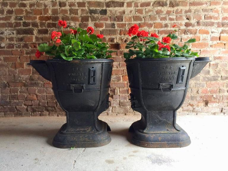 Super Large Garden Urns Metal Boilers Planters Mid Century
