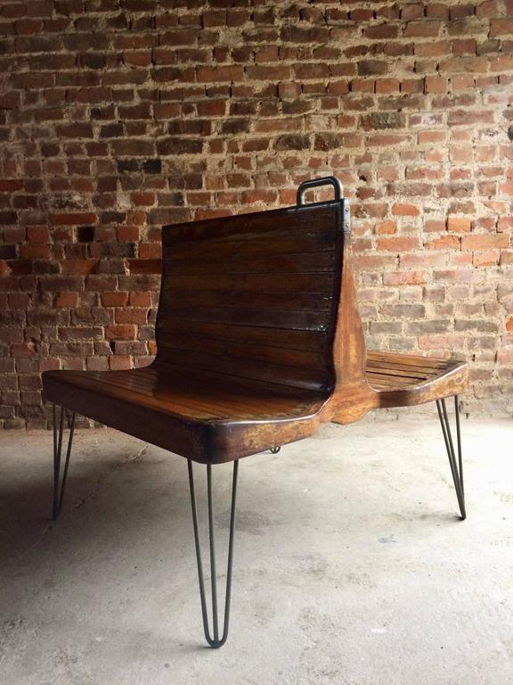 Mid-Century Chair Bench Seat Industrial Loft Style Dutch Tram ...