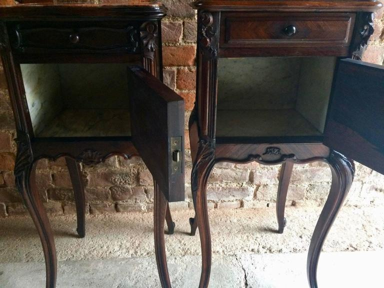Antique French Bedside Tables Cabinets Pair Walnut Marble