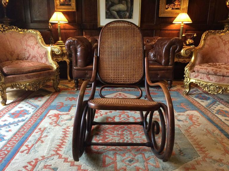 Antique Thonet Chair Bentwood Rocker Cane Victorian 19th Century At 1stdibs