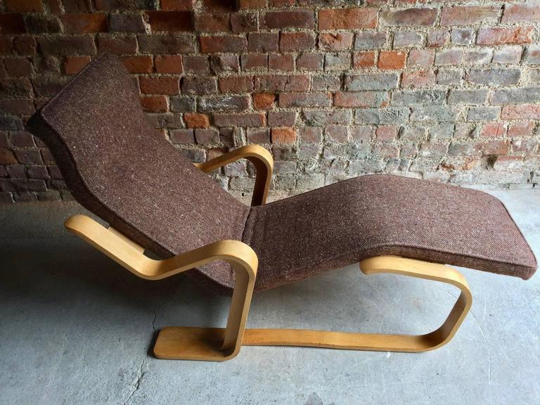 Marcel breuer long chair chaise longue mid century 1970s for Breuer chaise lounge