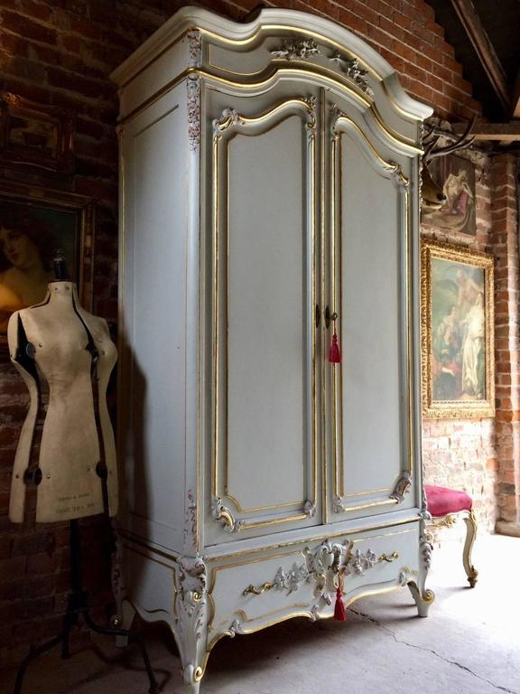 Antique Style French Armoire Wardrobe Painted Gilded