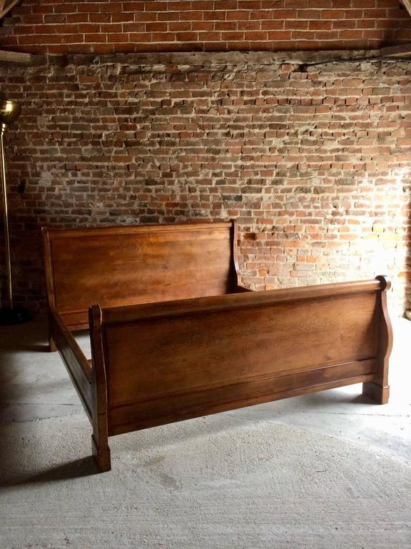 Antique Super King Size Sleigh Bed French Solid Oak Very