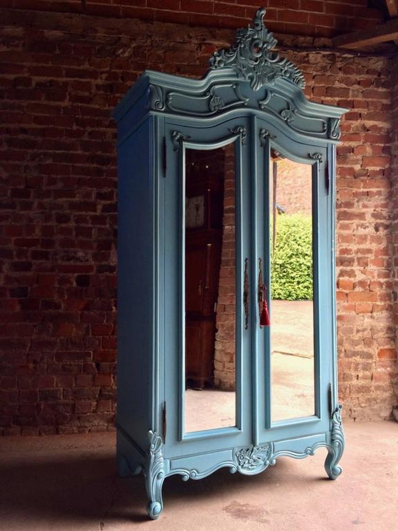 French Painted Armoire Double Wardrobe Mirrored Large