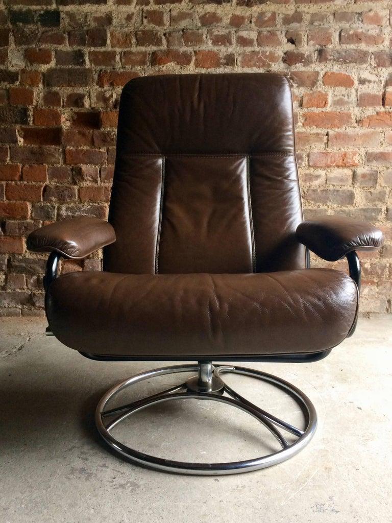 Swedish Brown Leather Armchair Lounge Reclining Swivel