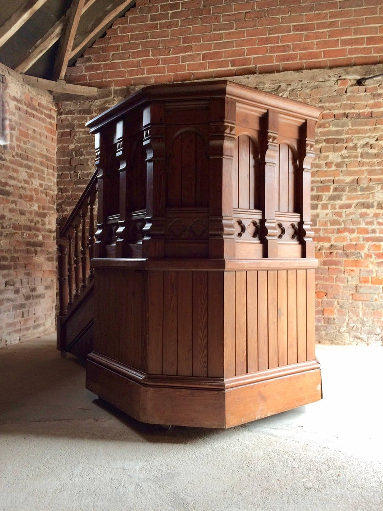 Antique Victorian Church Pulpit And Stairs Pitch Pine