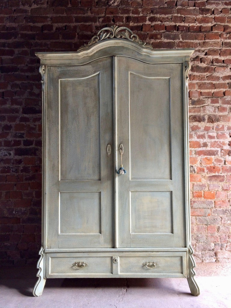 Antique French Painted Armoire Wardrobe Solid Pine Painted