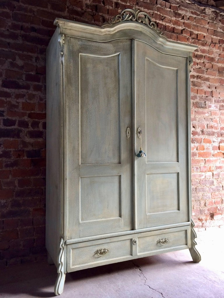 Antique French Painted Armoire Wardrobe Solid Pine Painted Distressed At 1stdibs