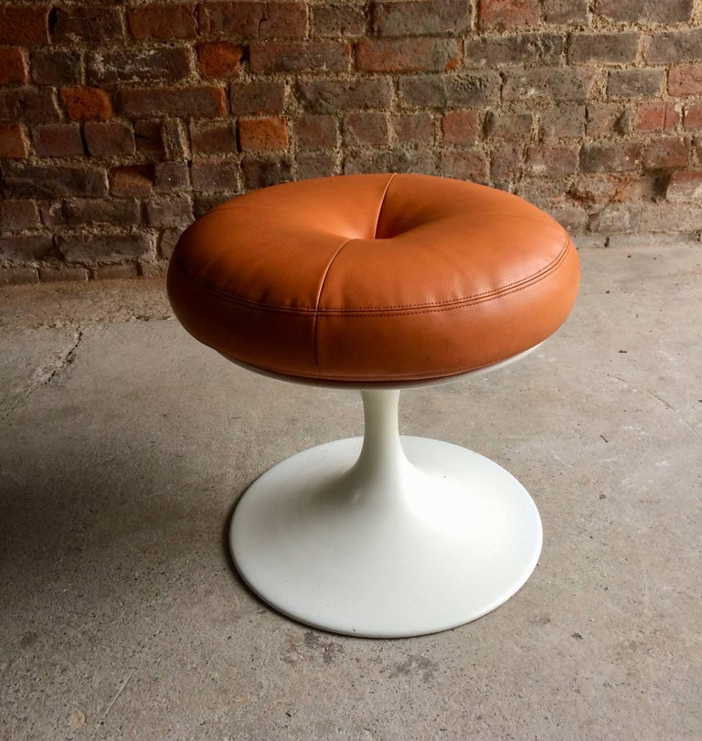Borje Johanson Orange Tulip Base Stool Leather Markaryd