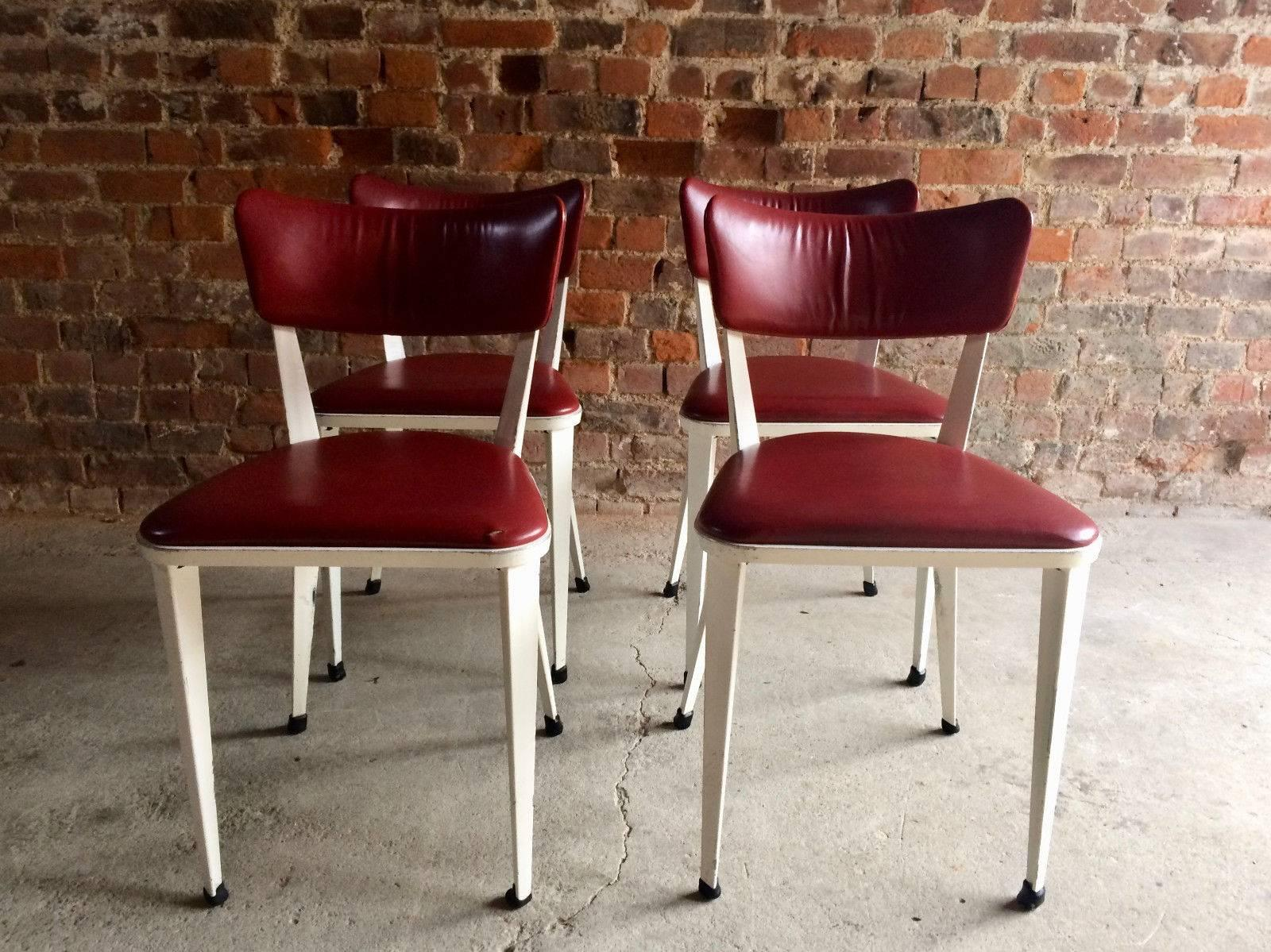 Midcentury Ernest Race Set Of Four BA3 Dining Chairs White Cherry Red  Leather In Good Condition