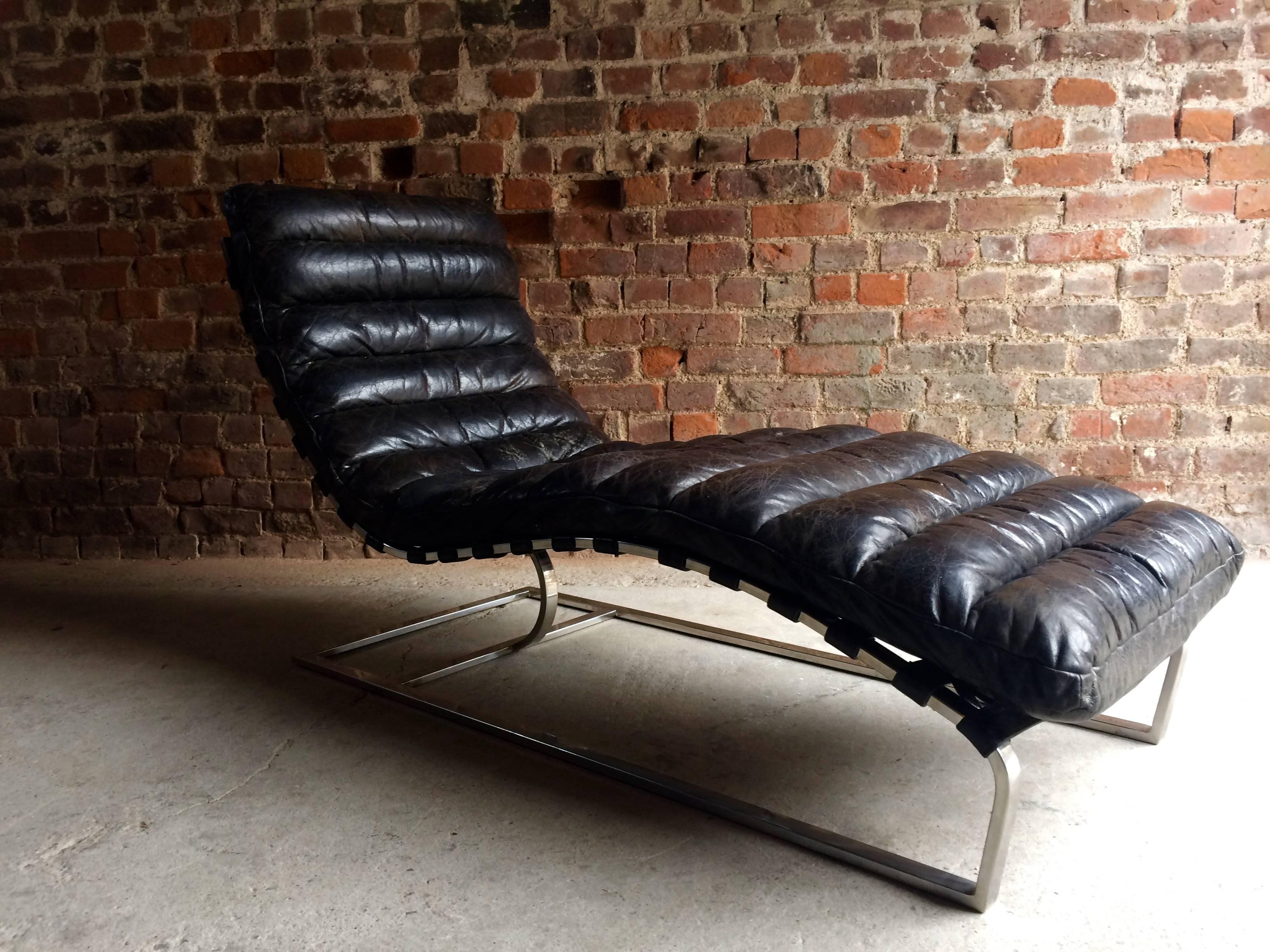 Amazing Vintage Midcentury Oviedo Leather Chaise Lounge At 1Stdibs Creativecarmelina Interior Chair Design Creativecarmelinacom