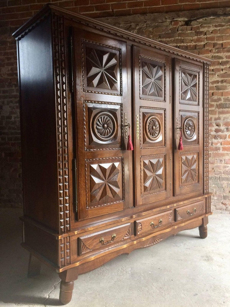 Antique Style French Oak Armoire Wardrobe Large Carved