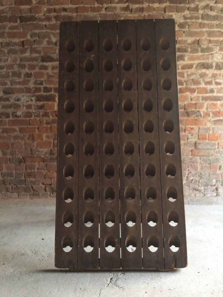 Antique French Champagne or Wine Rack Victorian Solid Oak 19th Century  Original For Sale 5 - Antique French Champagne Or Wine Rack Victorian Solid Oak 19th