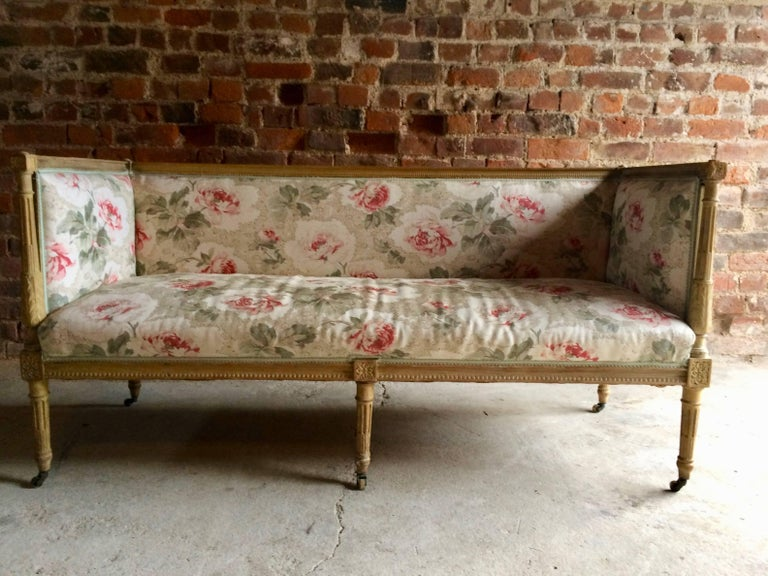 Antique 18th Century French Louis XV Salon Sofa Settee Painted Beech, circa 1770 For Sale 1