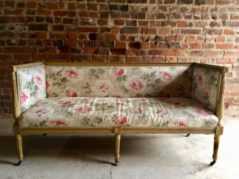 Antique 18th Century French Louis XV Salon Sofa Settee Painted Beech, circa 1770 For Sale 2