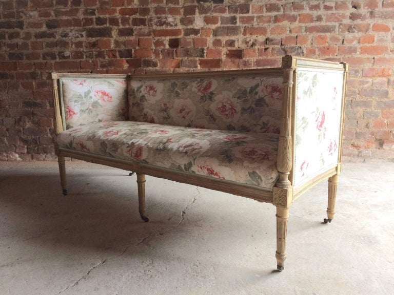 Antique 18th Century French Louis XV Salon Sofa Settee Painted Beech, circa 1770 For Sale 3