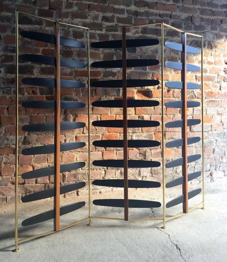 French Room Divider Three-Section Screen Midcentury Brass, 1950s In Excellent Condition For Sale In Longdon, Tewkesbury