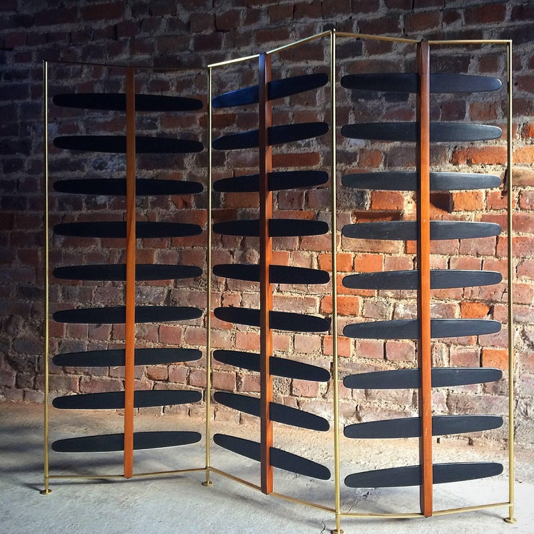 French Room Divider Three-Section Screen Midcentury Brass, 1950s 6