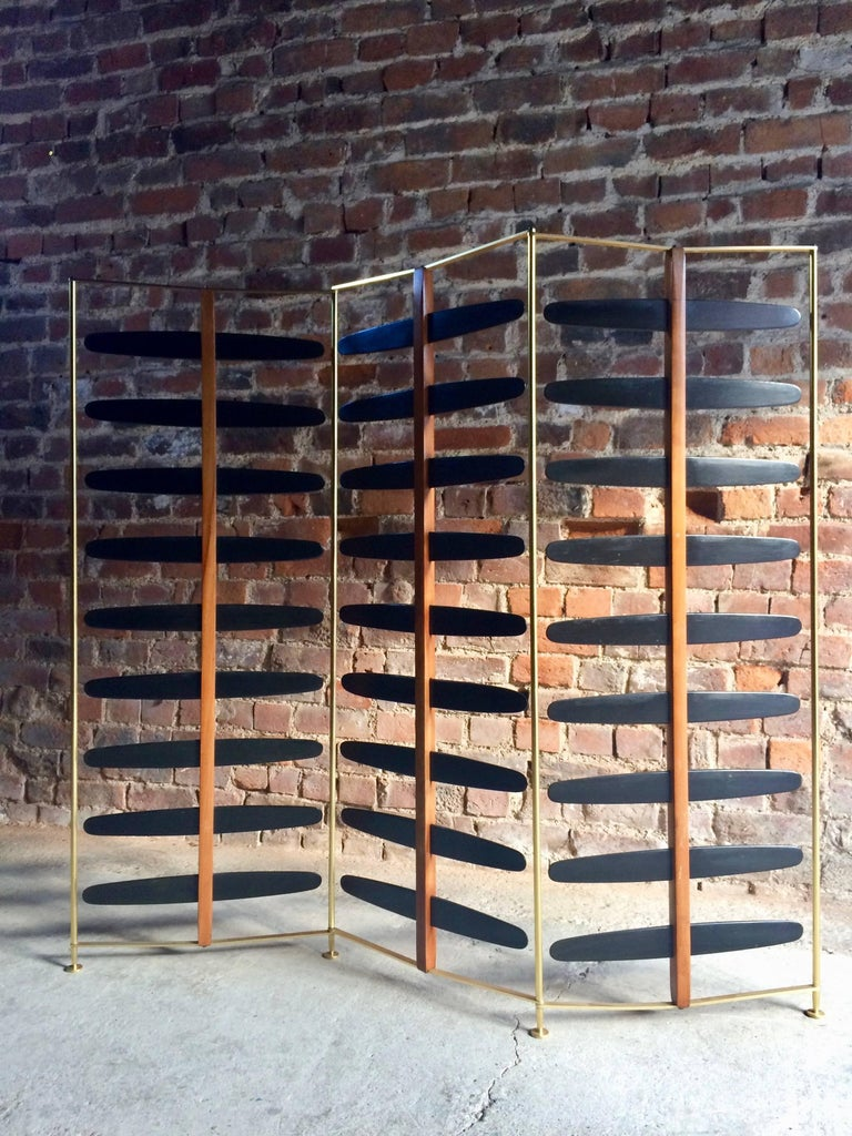 European French Room Divider Three-Section Screen Midcentury Brass, 1950s For Sale