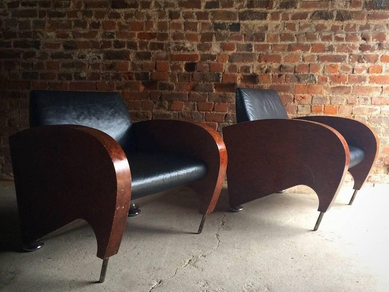Pair of Art Deco Club Chairs Tub Lounge Walnut Black Leather, French, 1940s For Sale 5