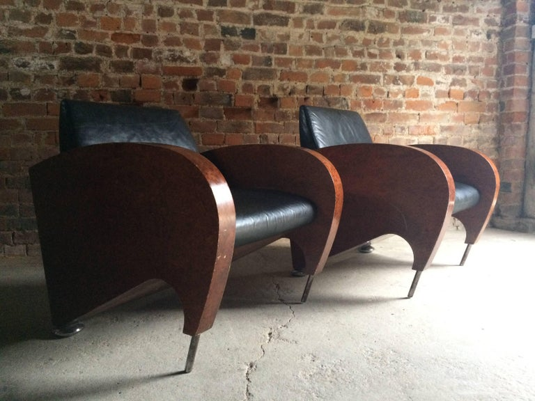 Pair of Art Deco Club Chairs Tub Lounge Walnut Black Leather, French, 1940s For Sale 3