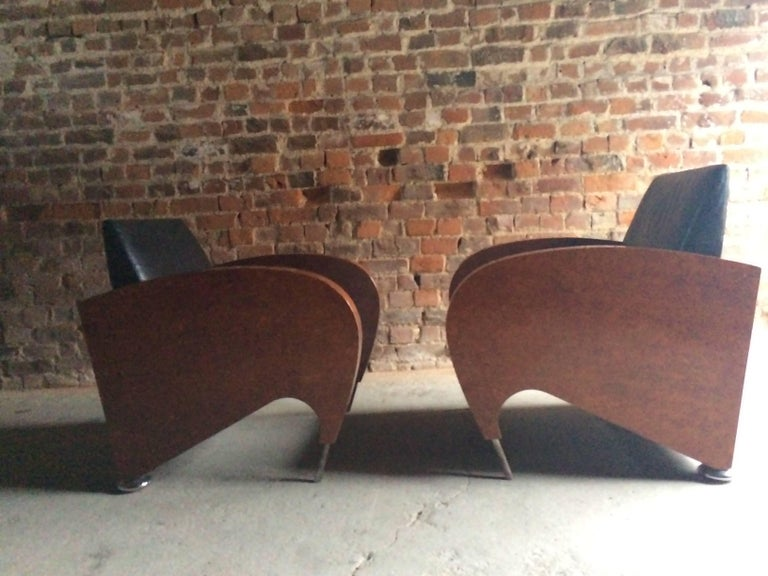 20th Century Pair of Art Deco Club Chairs Tub Lounge Walnut Black Leather, French, 1940s For Sale