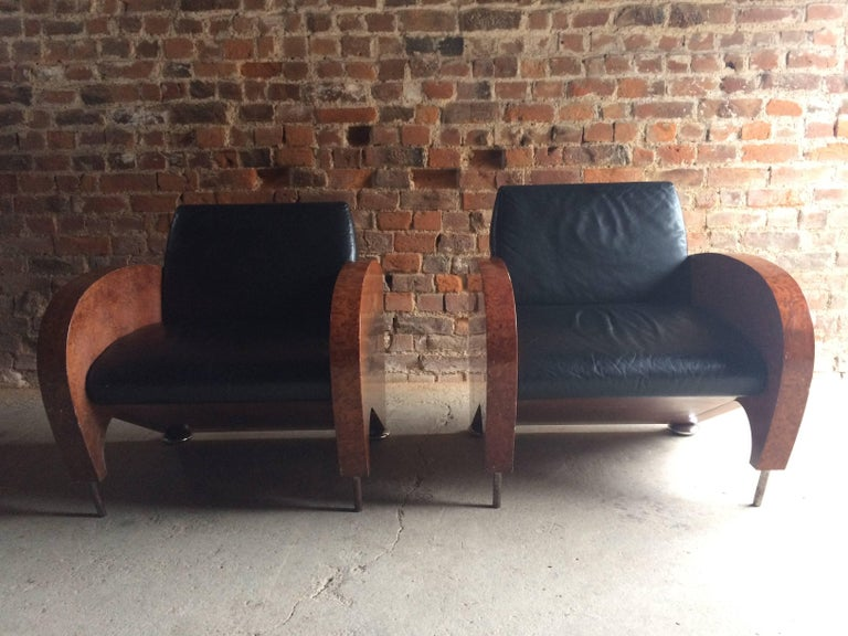 Pair of Art Deco Club Chairs Tub Lounge Walnut Black Leather, French, 1940s For Sale 1
