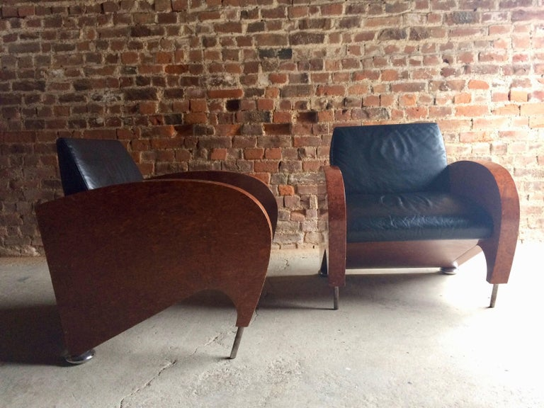 Pair of Art Deco Club Chairs Tub Lounge Walnut Black Leather, French, 1940s In Good Condition For Sale In Longdon, Tewkesbury
