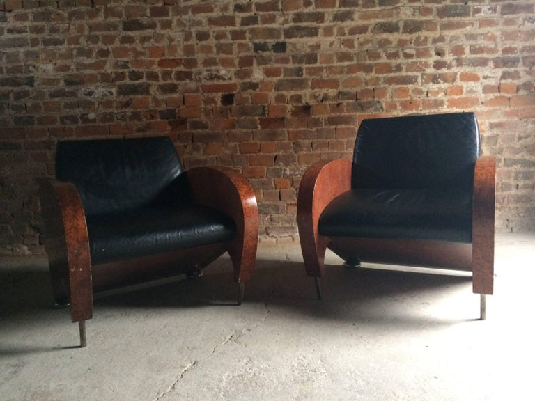 Pair of Art Deco Club Chairs Tub Lounge Walnut Black Leather, French, 1940s For Sale 2