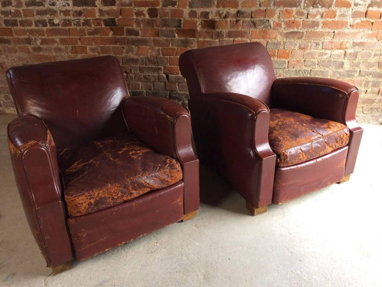 Incredible French Club Chairs Armchairs Moustache Cigar Art Deco Pair Of Red Leather 1930S Creativecarmelina Interior Chair Design Creativecarmelinacom