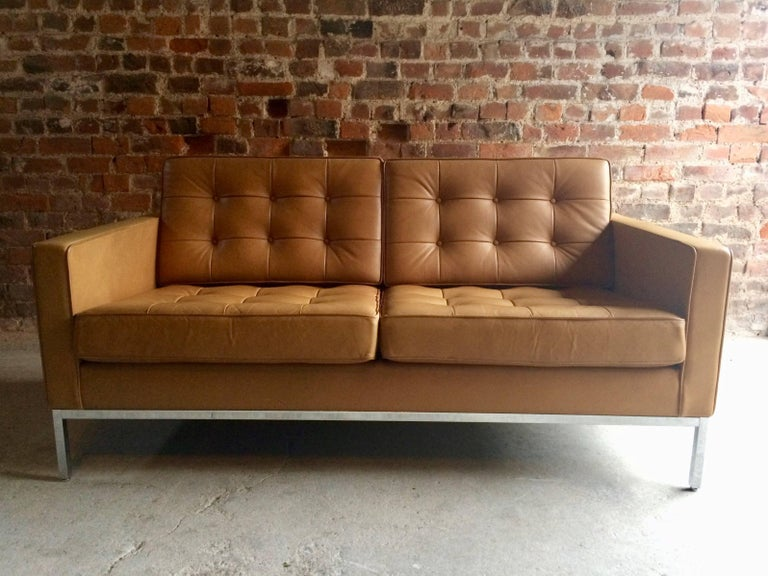 Original Florence Knoll By Studio Two Seat Tan Leather Sofa One Of A