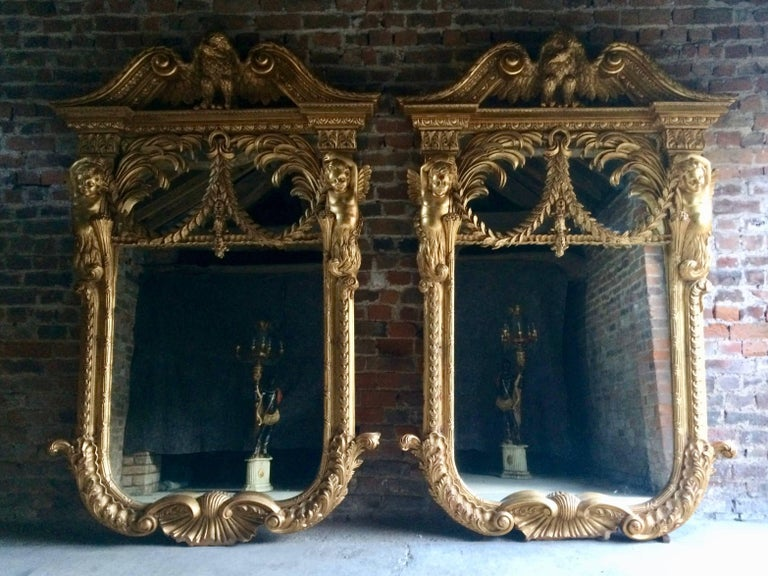French Giltwood Wall Mirrors Pair Of William Kent Design