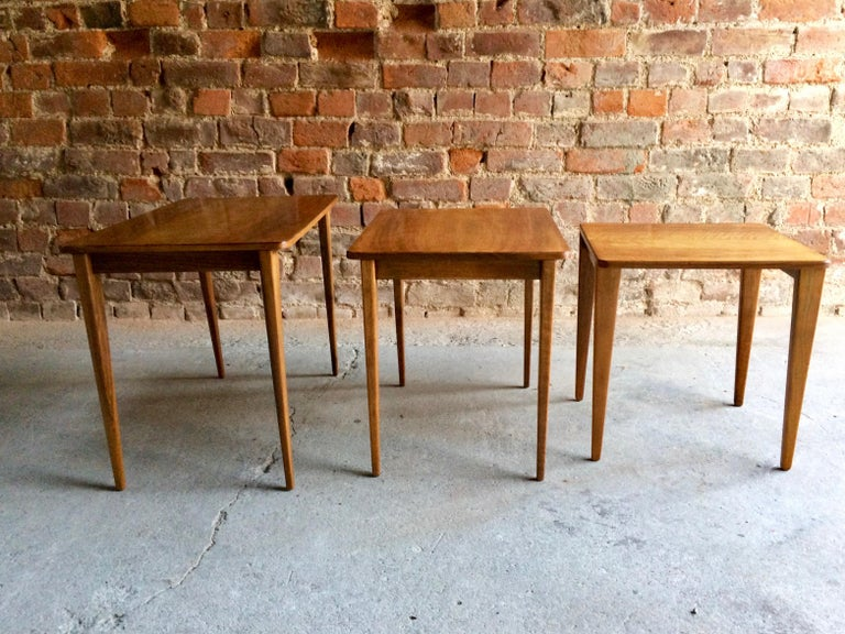 Midcentury Gordon Russell Nest of Tables Set of Three Walnut and Teak, 1950s For Sale 2